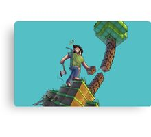 Minecraft Animation Tree Cutter Canvas Print