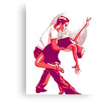 Strictly Salsa Couple Dancing With Glitter Ball Canvas Print