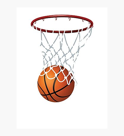 Basketball and Hoop Net Photographic Print
