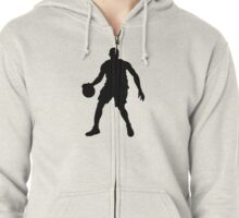 Basketball Player Silhouette 1 Zipped Hoodie