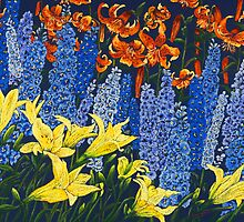 lilies and delphiniums by WyeLookAtThis