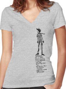 Aloof Melbourne Rock Boy Warning Women's Fitted V-Neck T-Shirt