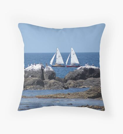 two yachts Throw Pillow