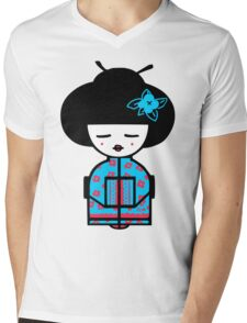 Cyan Chinese Mens V-Neck T-Shirt