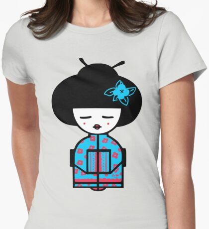 Cyan Chinese Womens Fitted T-Shirt