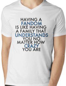 Fandom Understands Crazy (Black) Mens V-Neck T-Shirt