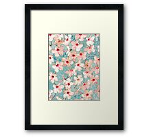 Shabby Chic Hibiscus Patchwork Pattern in Peach & Mint Framed Print