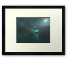 Moon light at the mountains Framed Print
