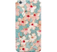 Shabby Chic Hibiscus Patchwork Pattern in Peach & Mint iPhone Case/Skin
