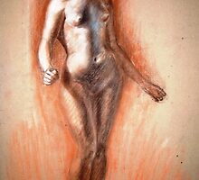 Standing nude study in pastels by Joseph Barbara