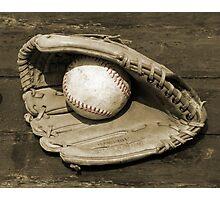Ball & Glove w/ Red Stitching Photographic Print