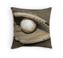 Ball & Glove w/ Red Stitching Throw Pillow