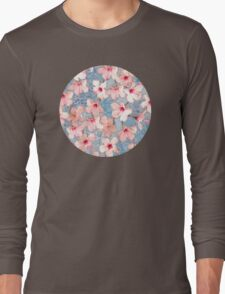 Shabby Chic Hibiscus Patchwork Pattern in Pink & Blue Long Sleeve T-Shirt