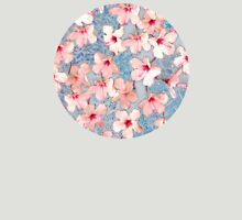 Shabby Chic Hibiscus Patchwork Pattern in Pink & Blue T-Shirt