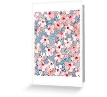Shabby Chic Hibiscus Patchwork Pattern in Pink & Blue Greeting Card