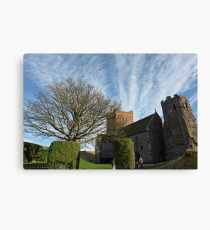 Family entering St Mary Church inside Dover Castle in England Canvas Print
