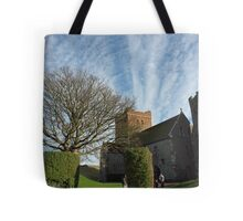 Family entering St Mary Church inside Dover Castle in England Tote Bag