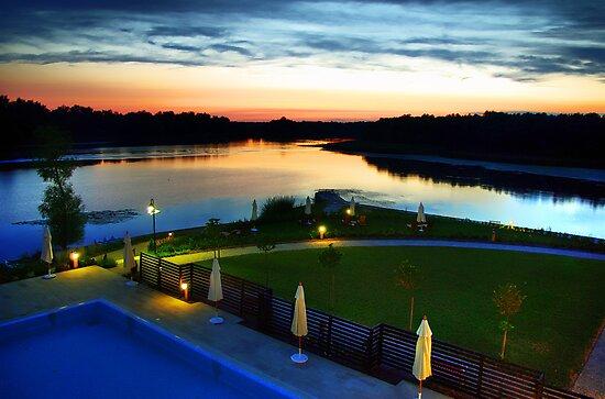 Tisza Lake sunset by Béla Török