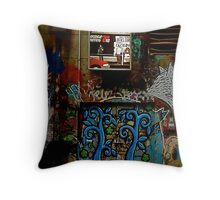 Graffiti and Lightbox Hosier Lane Throw Pillow
