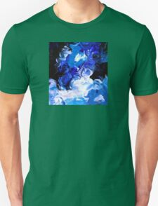 Sky Blue Modern Abstract Painting White Black Unisex T-Shirt