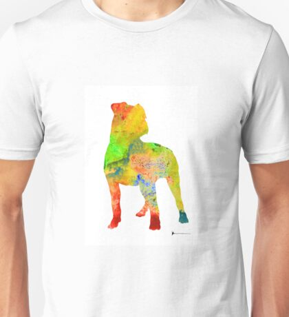 Pitbull colorful silhouette painting watercolor art print Unisex T-Shirt