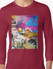 Abstract Eastern Sunset City Landscape Painting Gold Purple Black Long Sleeve T-Shirt