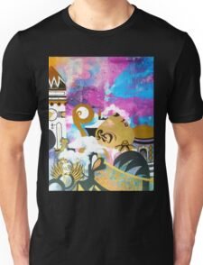 Abstract Eastern Sunset City Landscape Painting Gold Purple Black Unisex T-Shirt