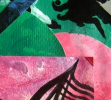 Uncharted abstract space landscape green red black Sticker