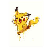 Pikachu Splatter Art Print