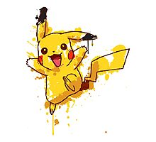 Pikachu Splatter Photographic Print