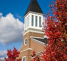 Brick Church in Autumn by dbvirago