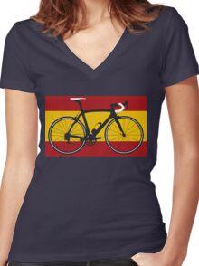 Bike Flag Spain (Big - Highlight) Women's Fitted V-Neck T-Shirt