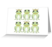 3 Crowned Frogs and 3 Crownless Frogs Greeting Card