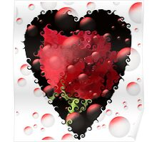 Flowers, Hearts and Bubbles Poster