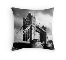 Moody Tower Bridge in London Throw Pillow