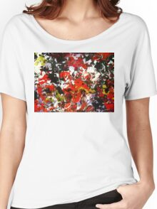 Wild Flower gritty abstract punk red black yellow white floral Women's Relaxed Fit T-Shirt