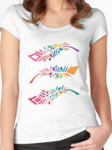 Stained Glass Feathers Women's Fitted Scoop T-Shirt