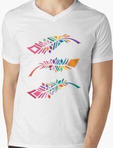Stained Glass Feathers Mens V-Neck T-Shirt
