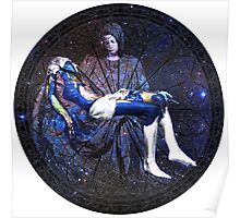 Earth Pietà (Michelangelo) Through Notre Dame Stained Glass Rosette. Poster