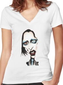 Marilyn Manson Caricature Women's Fitted V-Neck T-Shirt