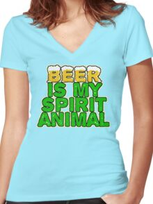 Beer Spirit Animal Women's Fitted V-Neck T-Shirt