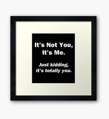 It's Not You, It's Me Framed Print