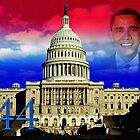 Barack Obama, red white, blue clouds by happyphotos