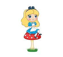 Alice in Wonderland Sitting on Mushroom Illustration by tshirtdesign