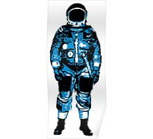 Lone Blue Astronaut Illustration Poster