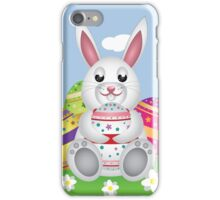 White bunny with Easter eggs 2 iPhone Case/Skin