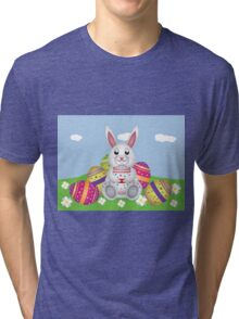 White bunny with Easter eggs 2 Tri-blend T-Shirt