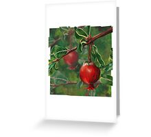 Hand Painted Red Pomegranate Fruit with Green Leaf Background Greeting Card