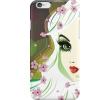 Floral Girl with White Hair iPhone Case/Skin