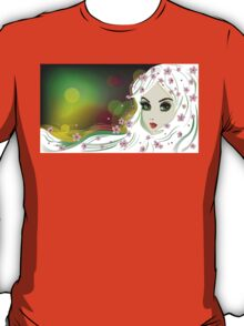 Floral Girl with White Hair T-Shirt